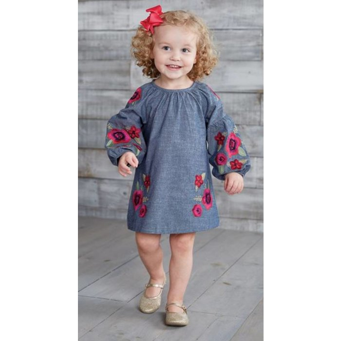 Kids Floral Embroidered Dress