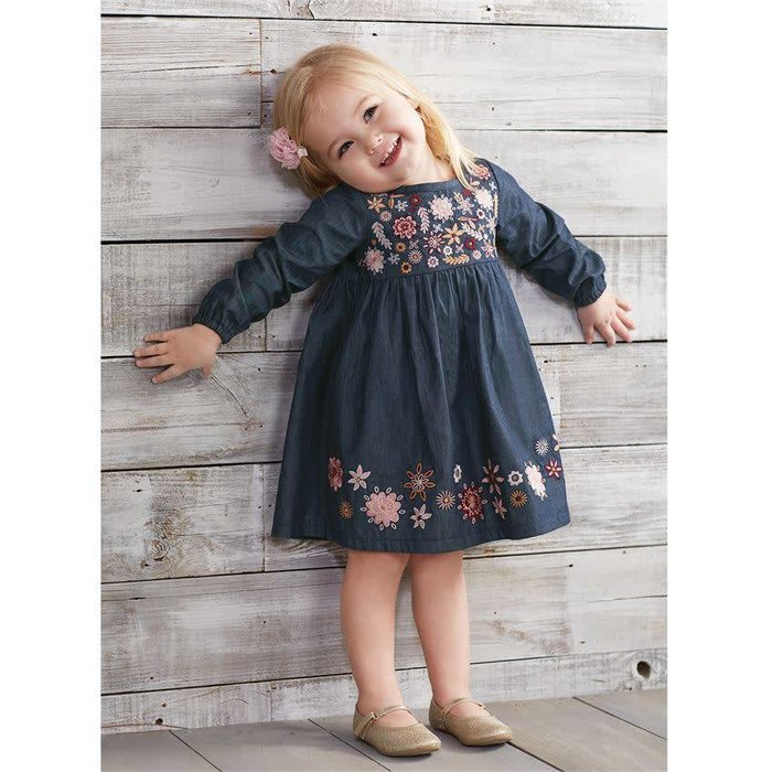 Chambray Floral Embroidered Dress