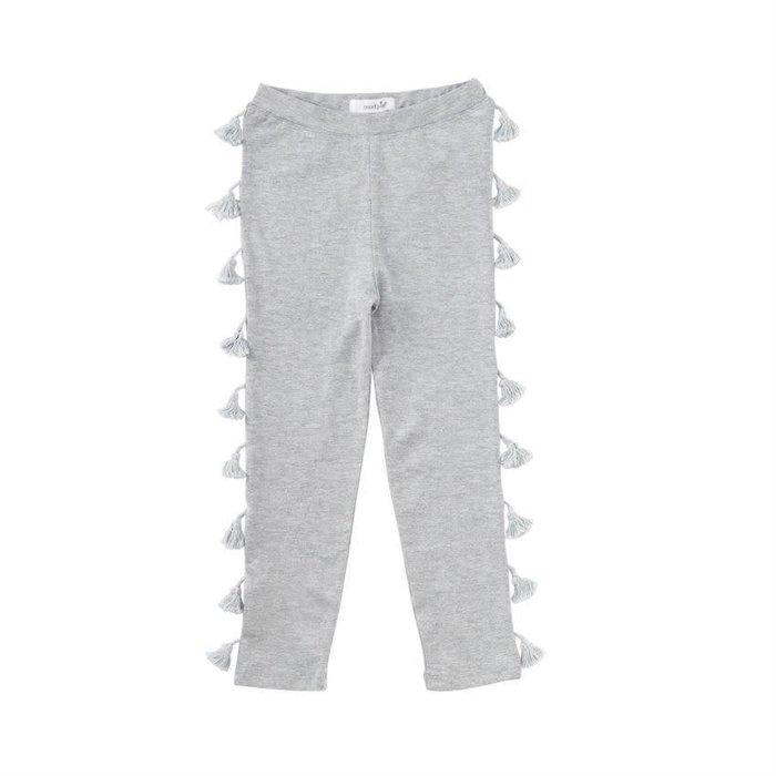 Gray Tassel Cotton Leggings