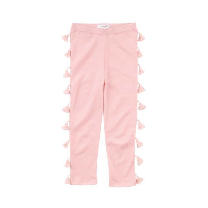 Pink Tassel Cotton Leggings