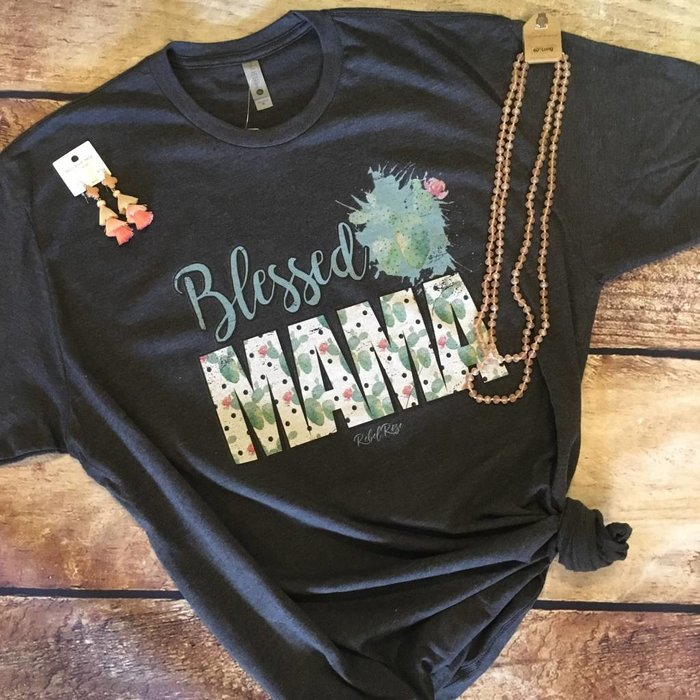 Charcoal Cactus Blessed Mama T-Shirt