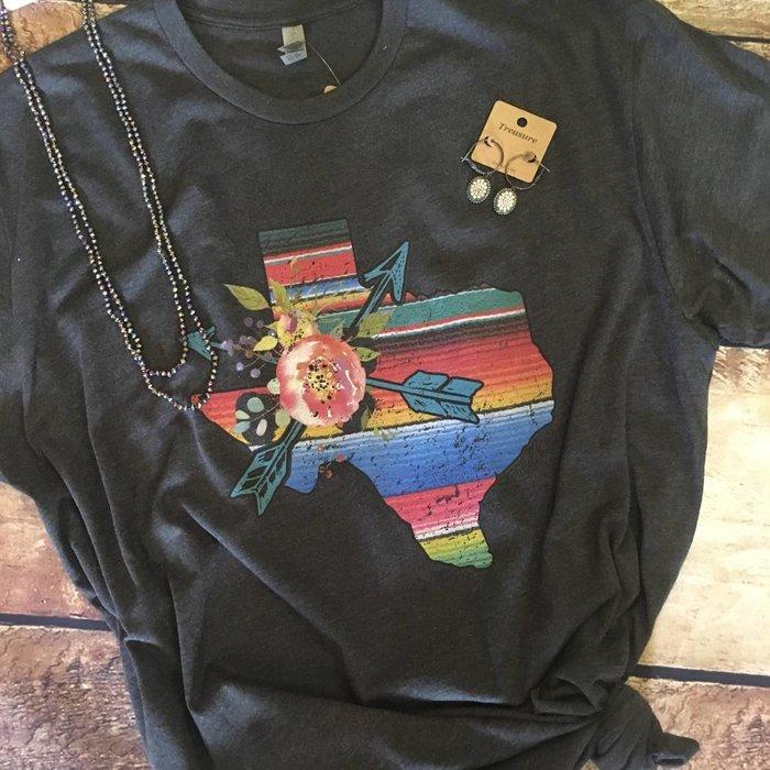 Charcoal Floral Serape Texas T-Shirt