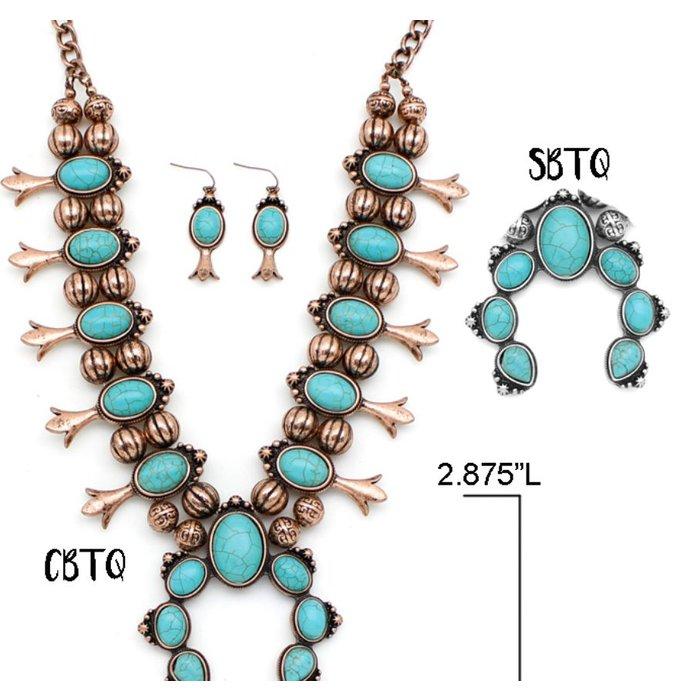 Bronze Turquoise Squash Blossom Necklace Set
