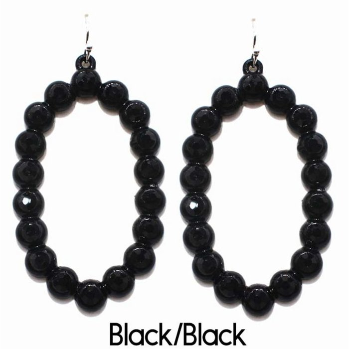 Black Open Oval Black Rhinestone Earrings