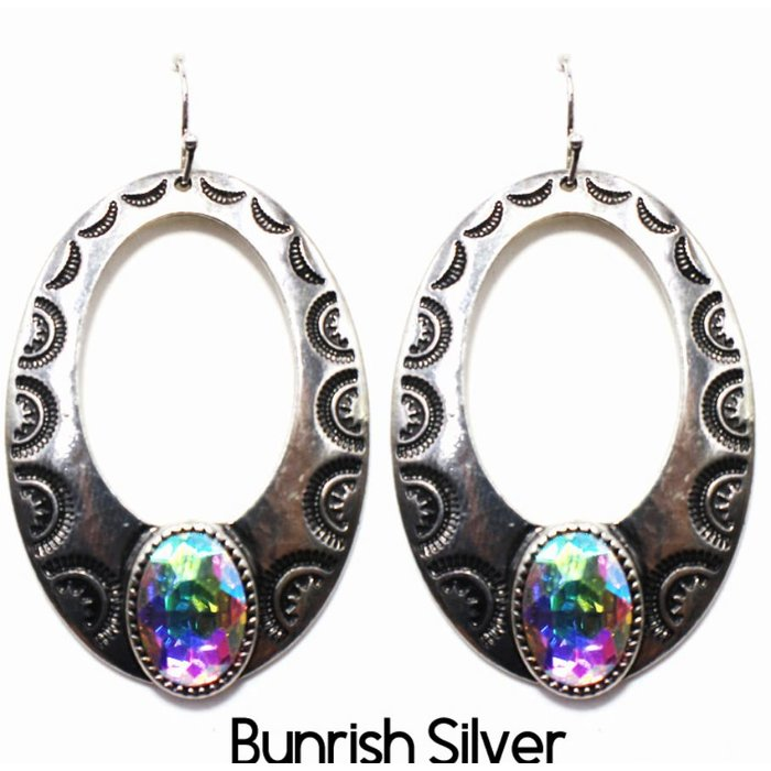 Bali Silver Open Teardrop with Large AB Stone