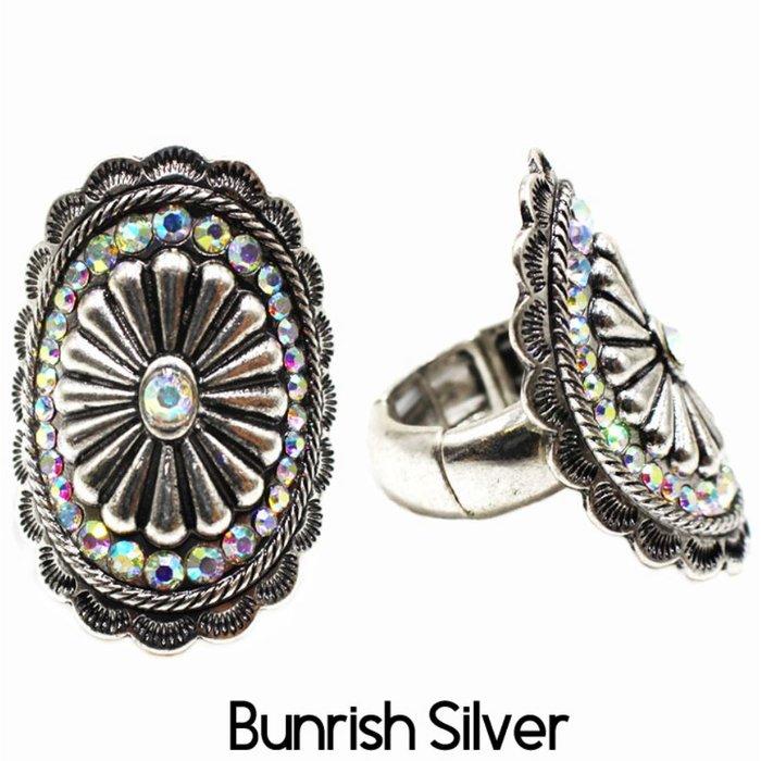 Silver Rhinestone Concho Stretch Ring