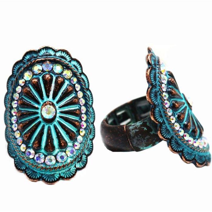 Patina Rhinestone Concho Stretch Ring
