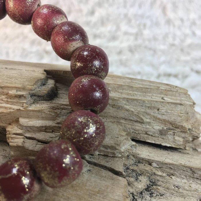 Maroon Teak Wood Beaded Bracelet