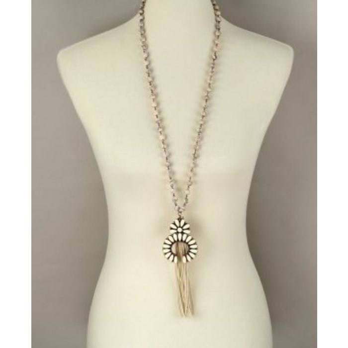 Cream Squash Blossom Tassel Necklace
