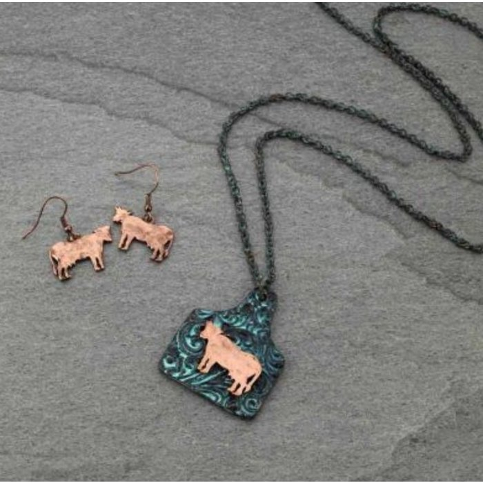 Patina Cow Tag Necklace Set