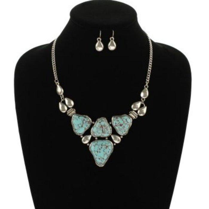 4 Stone Turquoise & Silver Bib Necklace Set
