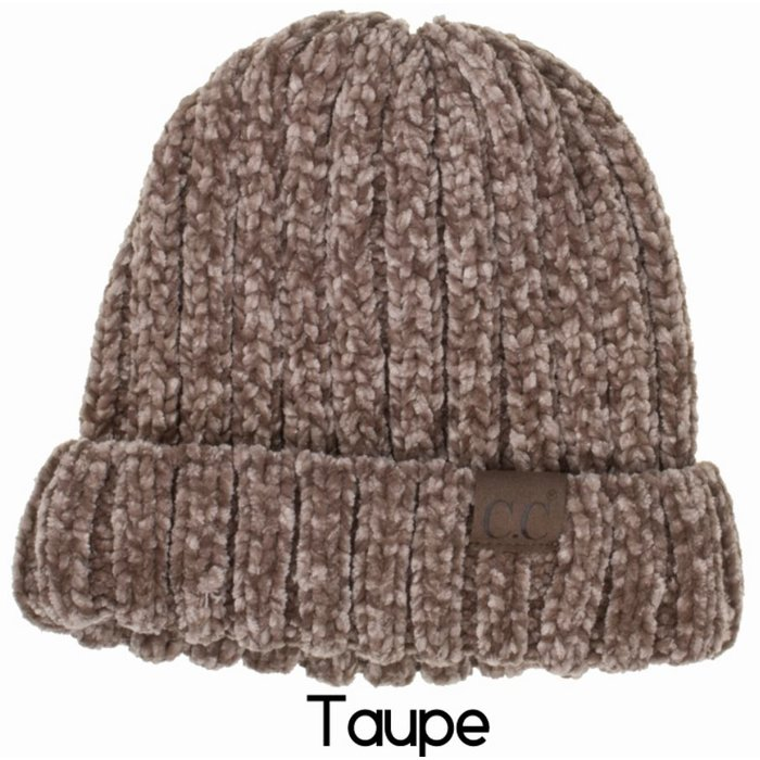 Taupe Chic Chenille Beanie