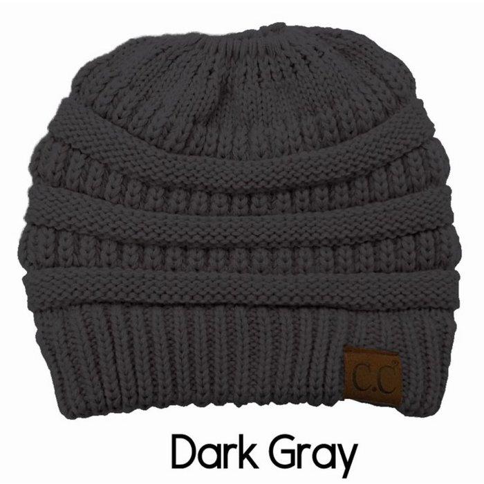 Dark Grey Messy Bun Beanie