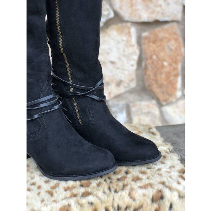 Annabel Faux Suede Back Lace Riding Boots