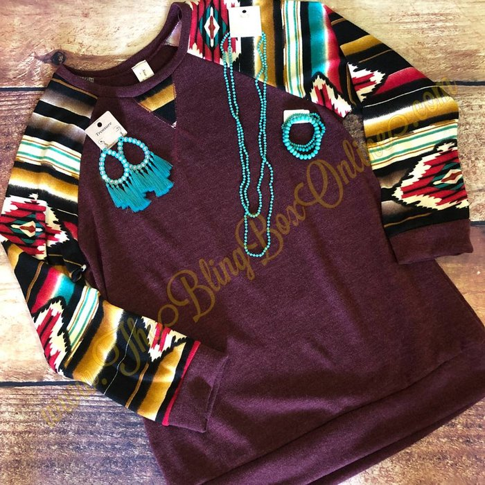 PLUS Wine Aztec Sleeve Sweater