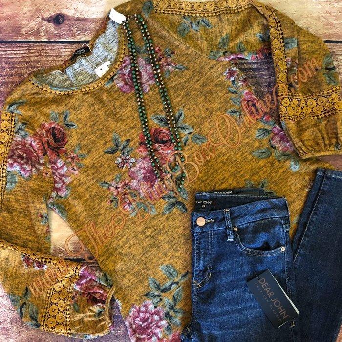 Mustard Floral Crochet Sleeve Top