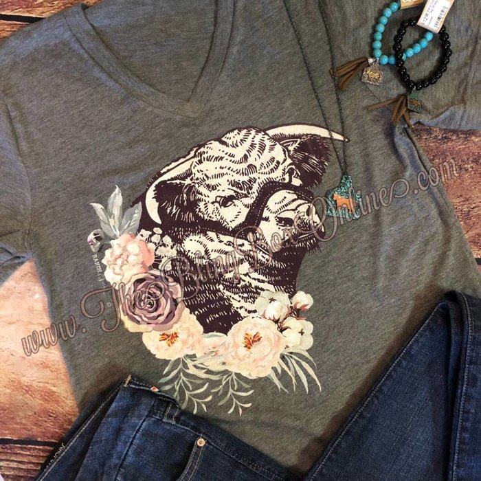 Grey Floral Hereford Bull V-Neck Tee