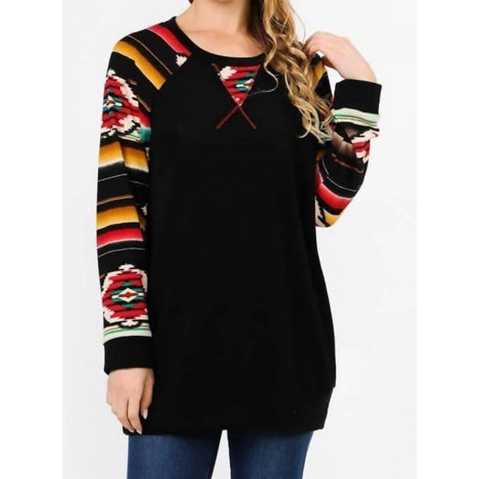 Black Aztec Sleeve Sweater