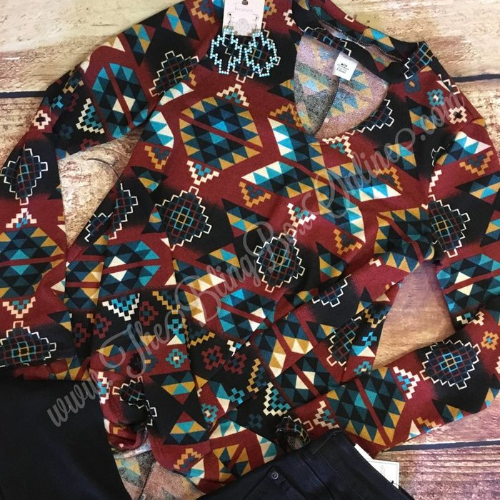 Aztec Twist Front Keyhole Sweater