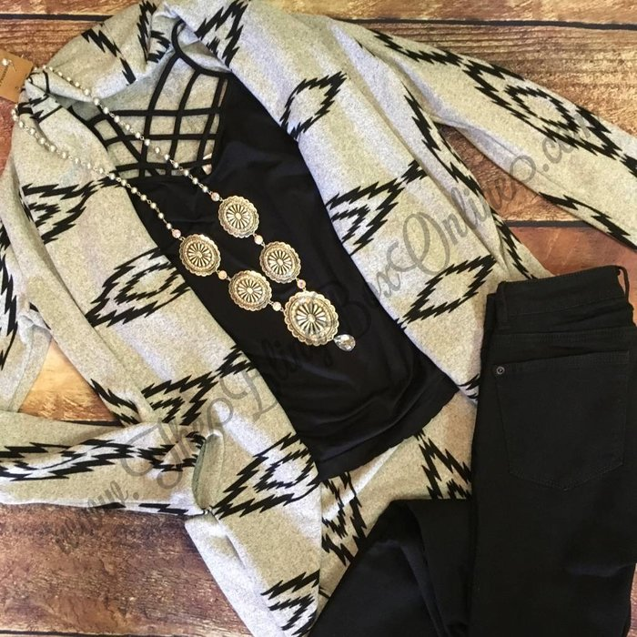 Grey & Black Aztec Cardigan