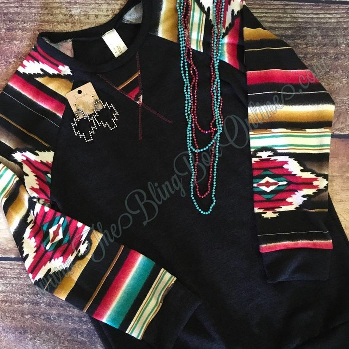 PLUS Black Aztec Sleeve Sweater
