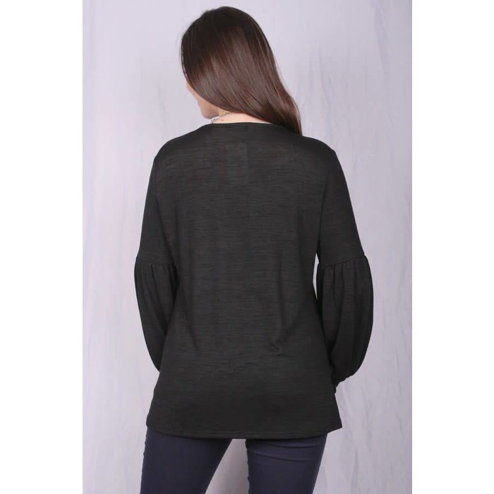 Black Top with Knot Hem