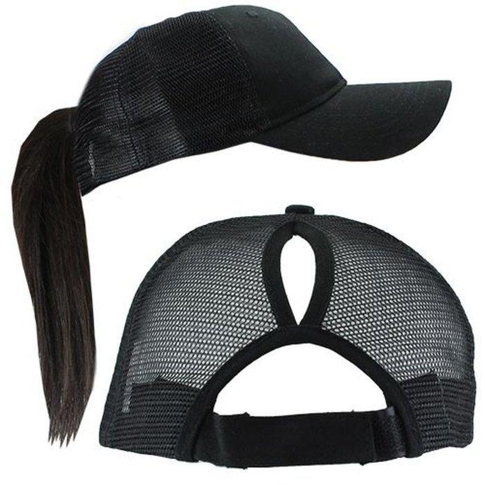 Solid Black Ponytail Cap