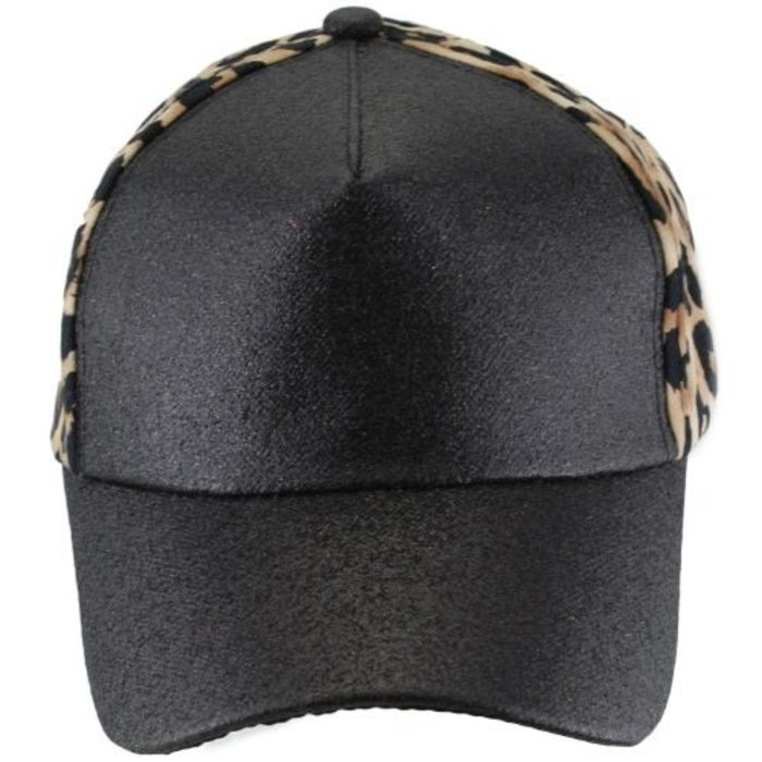 Black Glitter and Leopard Ponytail Cap