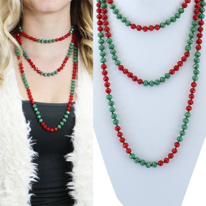 """Red and Green 60"""" Crystal Beaded Necklace"""