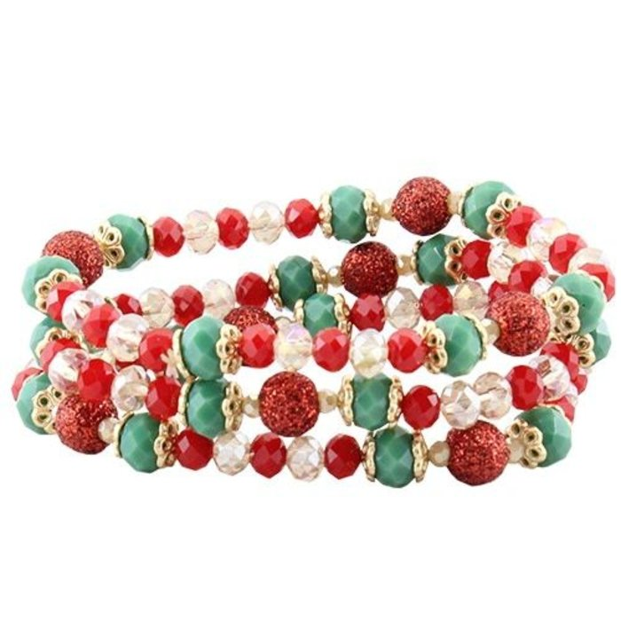 Red and Green 3 pc Crystal Bracelet