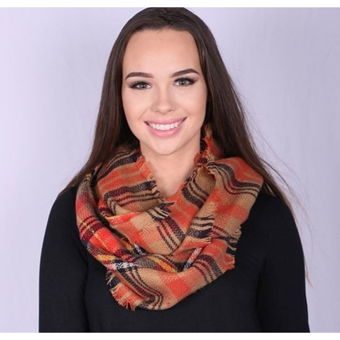 Orange/Camel Plaid Infinity Scarf with Fringed Detail