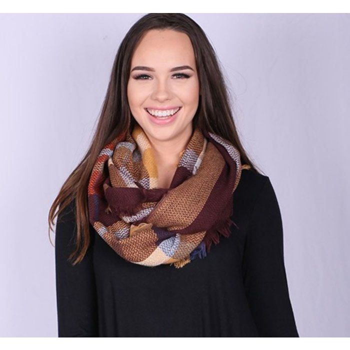 Brown/Mustard Plaid Infinity Scarf with Fringed Detail
