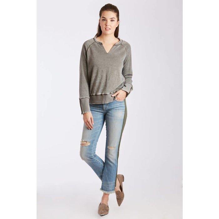 Anya Olive Crew Neck Pullover w/ Zipper Sleeve