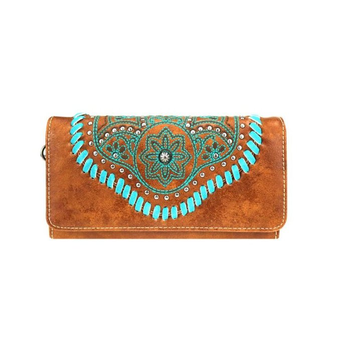 Brown Floral Wallet with Turquoise Stitching