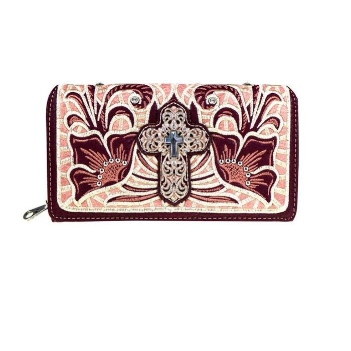 Embroidered Burgundy Crystal Cross Wallet