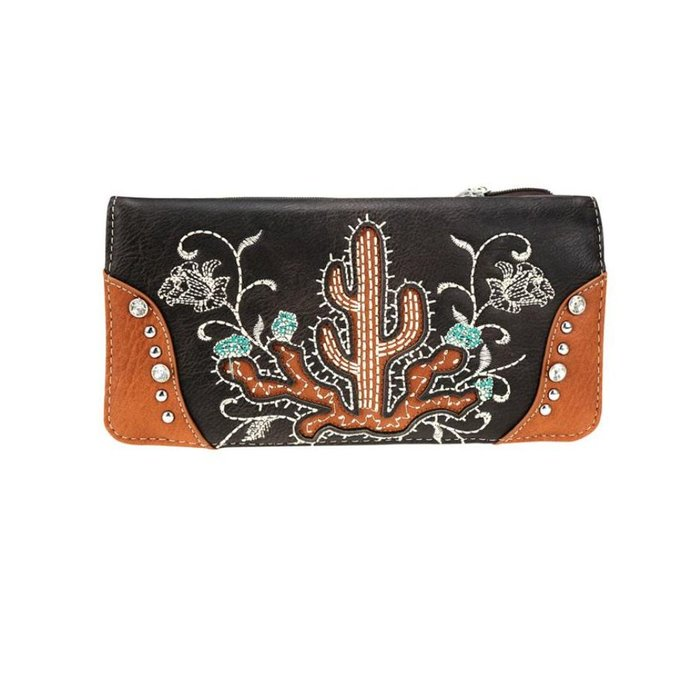 Brown Embroidered Floral Cactus Wallet