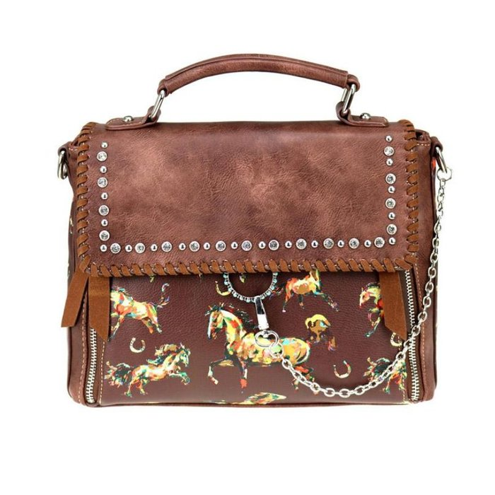 Brown Horse with Horseshoes Satchel/Crossbody
