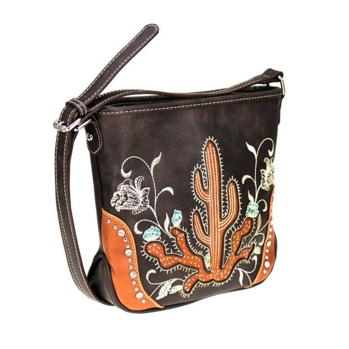 Brown Embroidered Floral Cactus Crossbody Bag