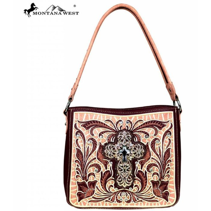 Embroidered Burgundy Crystal Cross Hobo Tote