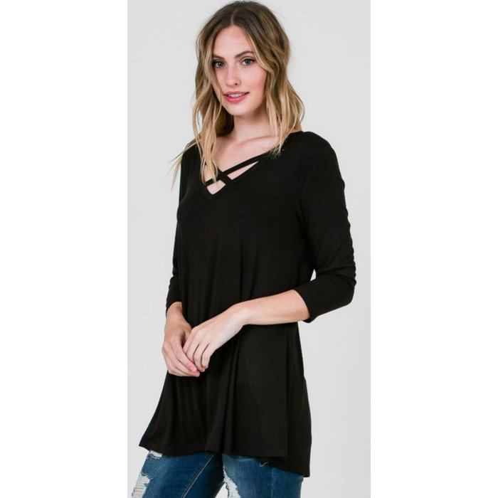 Black Criss Cross 3/4 Sleeve Tunic