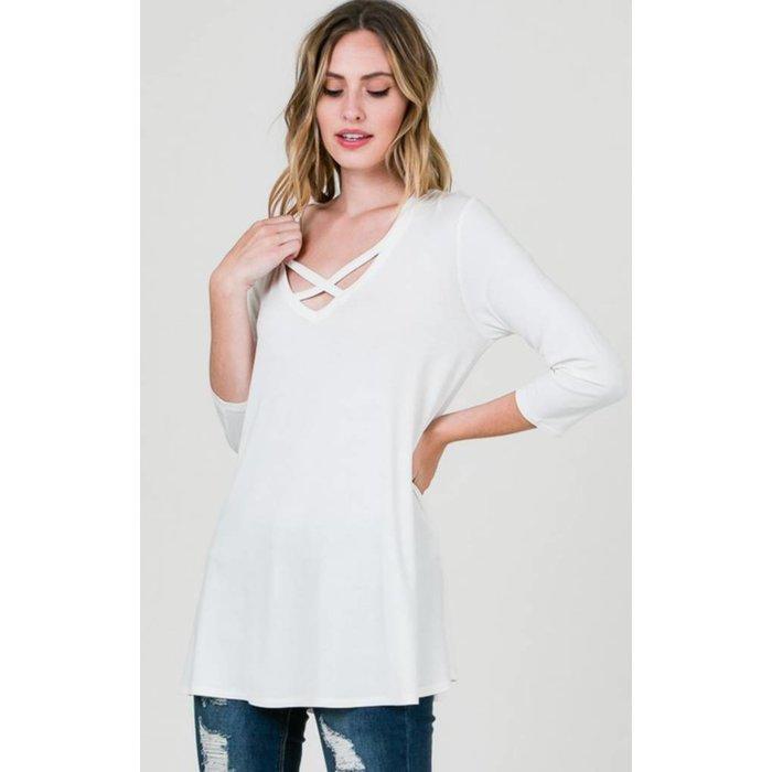 White Criss Cross 3/4 Sleeve Tunic