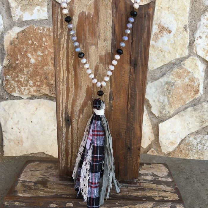Grey Crystal Beaded Necklace With Plaid Fabric Tassel