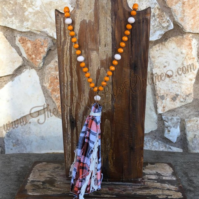 Orange Beaded Necklace With Plaid Fabric Tassel