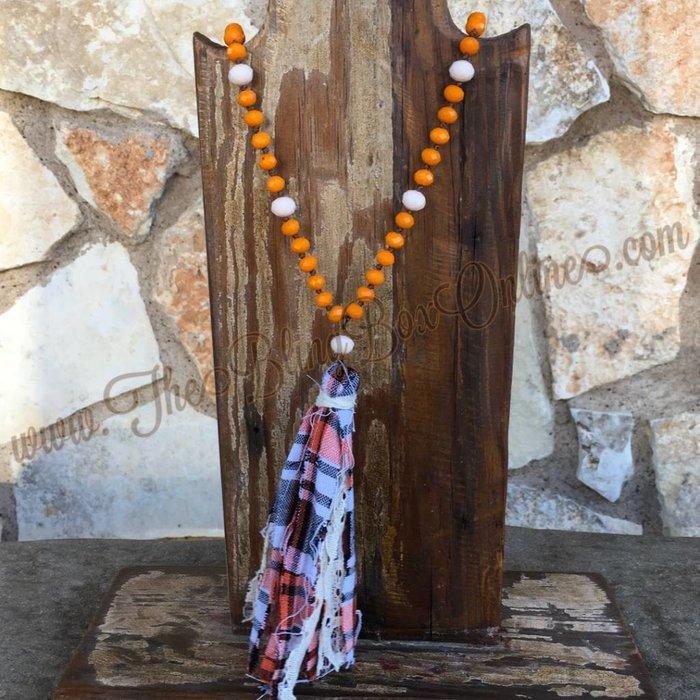 Orange Beaded Necklace With Plaid Fabric Tassel