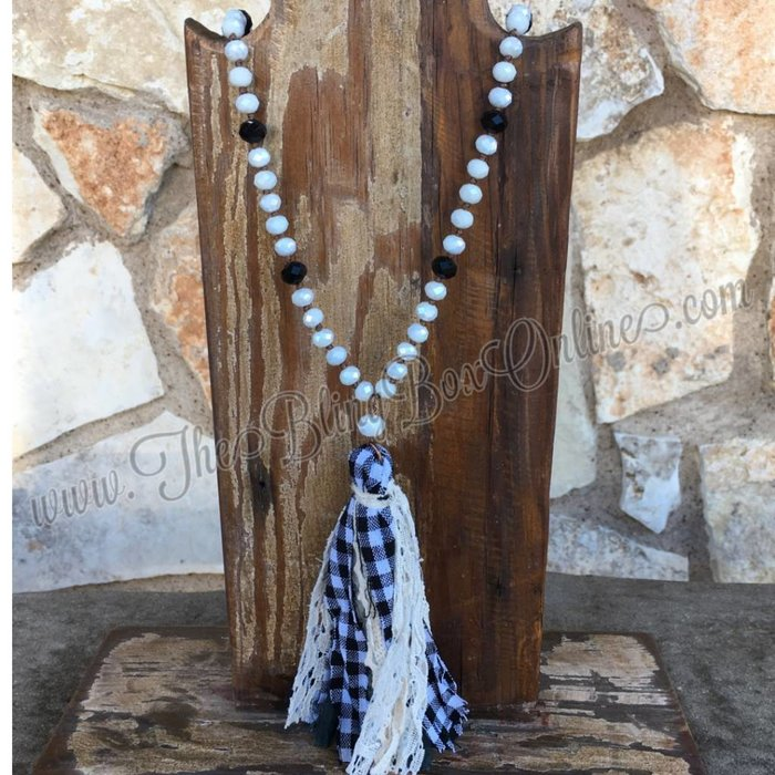 White Crystal Beaded Necklace with Plaid Fabric Tassel