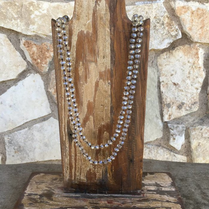 """Clear Champagne Crystal Knotted 60"""" Necklace"""