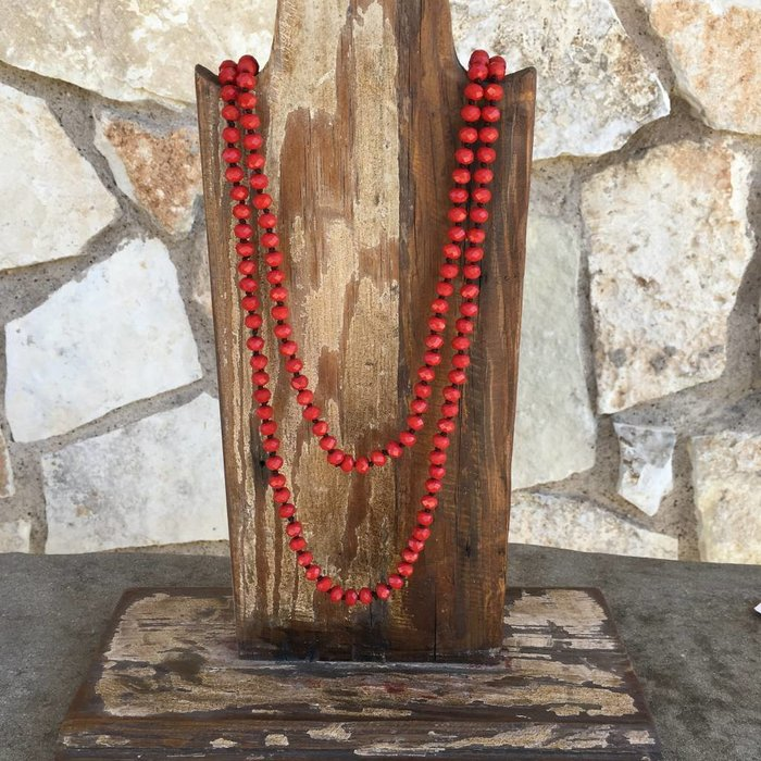 """Red Crystal Knotted 60"""" Beaded Necklace"""