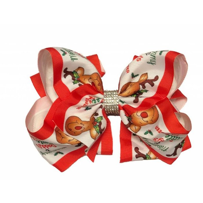Mommy & Daddy's Little Reindeer Rhinestone Hair Bow