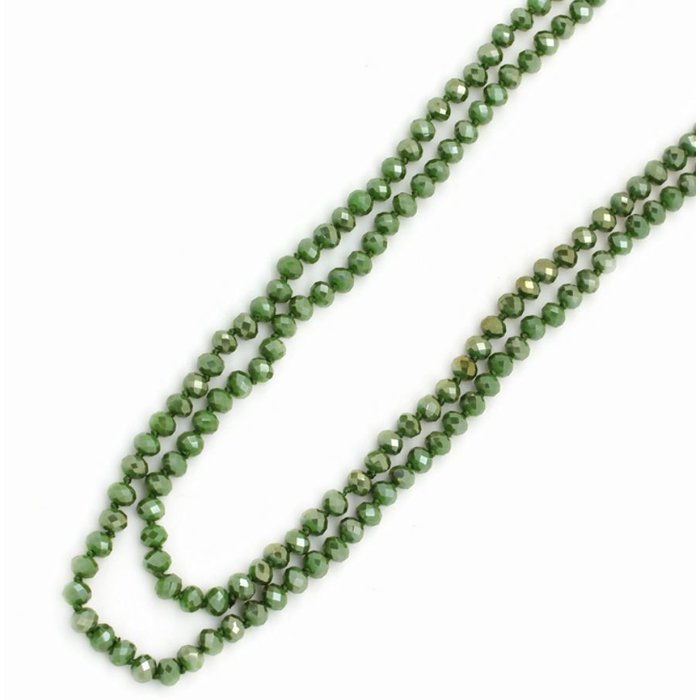 """Olive AB 60"""" Crystal Beaded Necklace"""