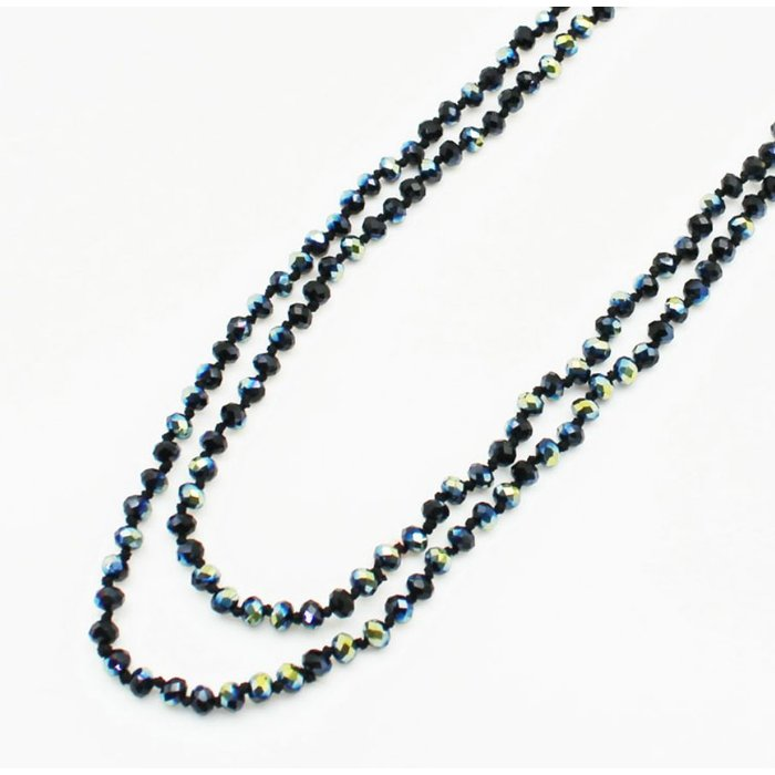 """Black AB 60"""" Crystal Beaded Necklace"""
